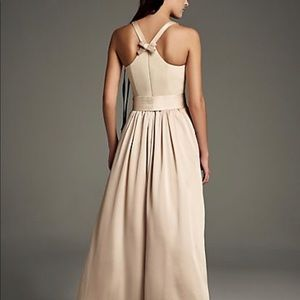 High-Neck Crepe Halter Bridesmaid Gown with Sash